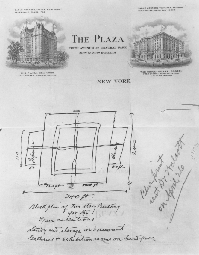 Sketch of building on Plaza Hotel stationery