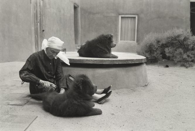 Georgia O'Keefe grooming her dogs