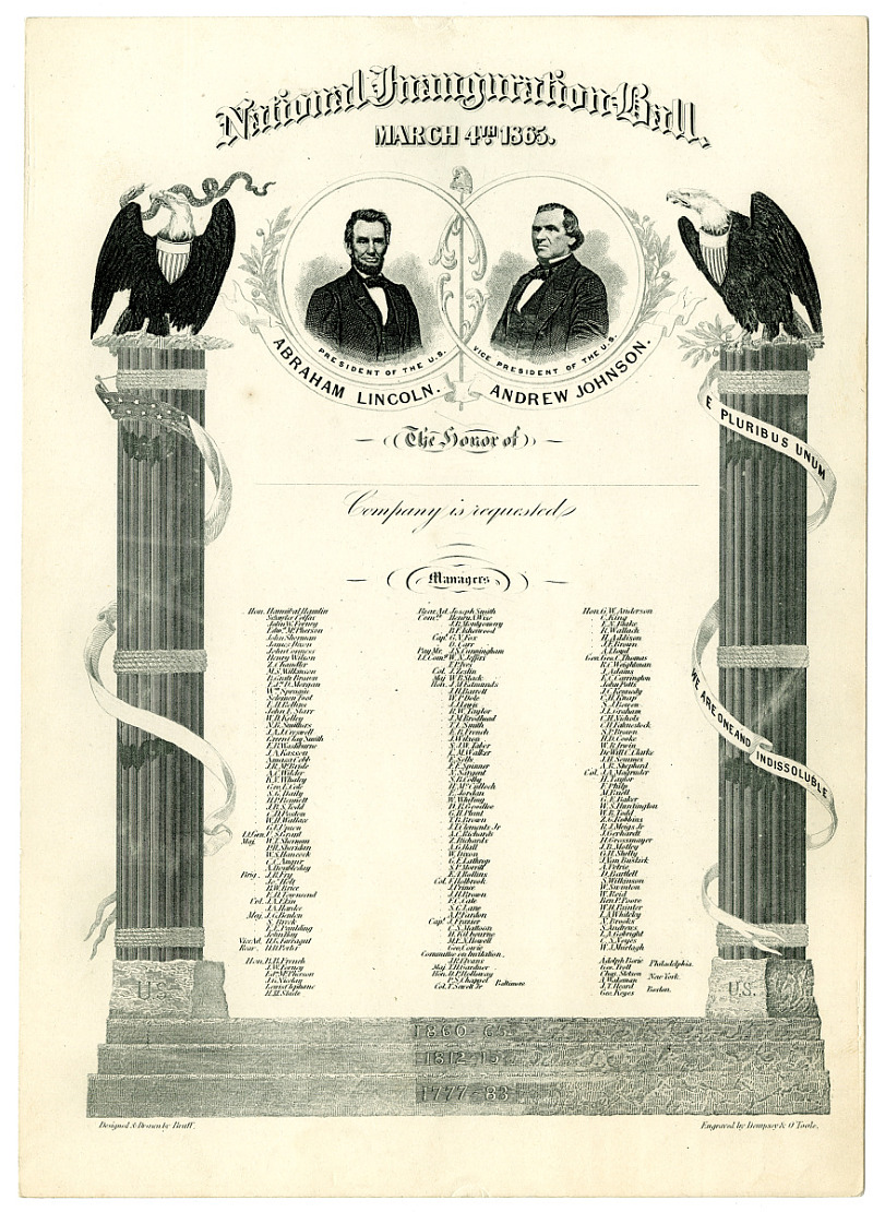 President Lincoln's Inaugural Ball Invitation, 1865