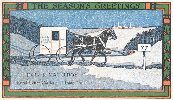Rural Postal Carrier's Christmas Postcard, 1915
