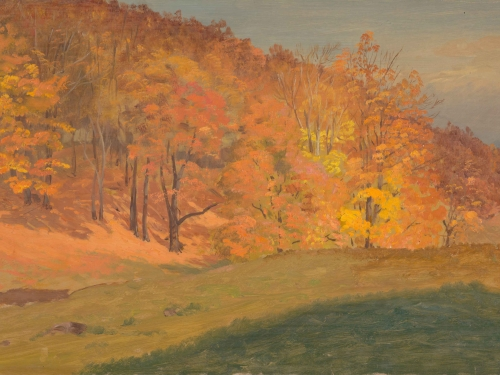 Painting of a line of trees with orange leaves behind a grassy slope