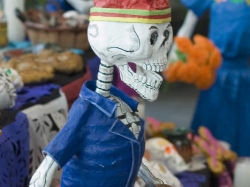 Traditional calaveras, or skulls, which are prominent on Día de los Muertos.