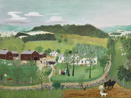 Painting of a farm with a large white house and barns. There is a group of people on the grass near a road.