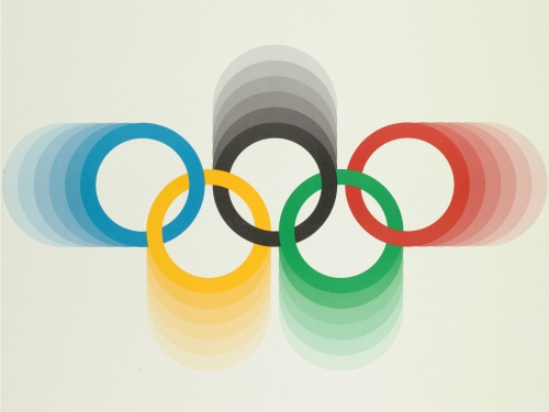 """Poster with the Olympic rings and text: """"Montreal 1976"""""""