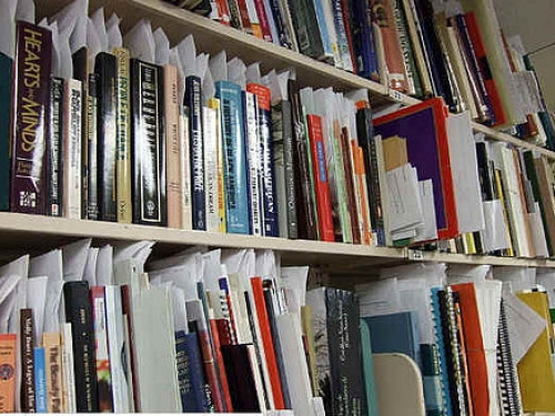 shelves with publications