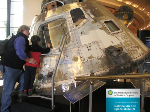 Space capule on loan from Air and Space Museum