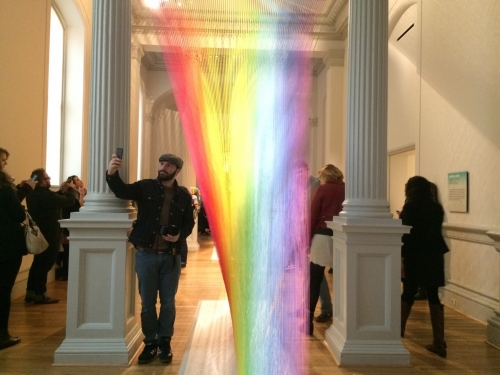Man taking selfie at Wonder exhibit, Renwick Gallery