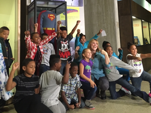Schoolchildren at Superman exhibit, Ohio History Connection.