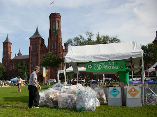 Recycling and composting station at the Folklife Festival