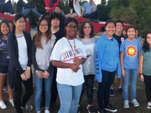 Group of high school students in STEM program.