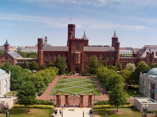 Aerial view of Smithsonian Castle and gardens