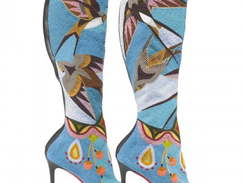 Embellished blue boots