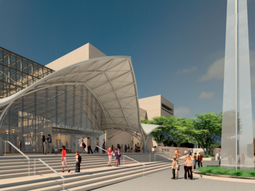 Artist's rendering of Air and Space Museum entrance