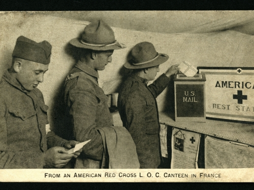 Red Cross postcard of soldiers