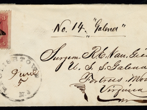 Handwritten and stamped envelope