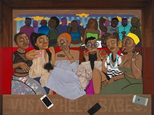 mixed media work depicting of six women.