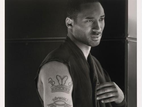 Black and white photo of Kobe Bryant