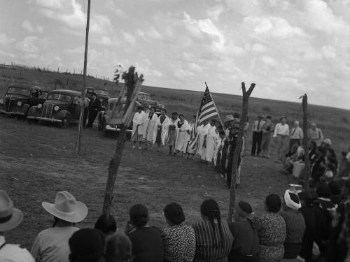 Black and white photo of powwow