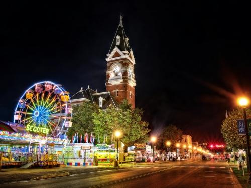 Ferris wheel in small town square