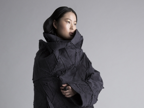 Woman modeling coat