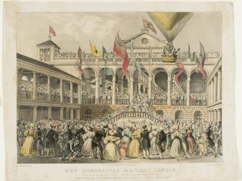 Print showing crowd watching balloon ascent