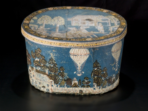 hatbox painted with hot air balloons