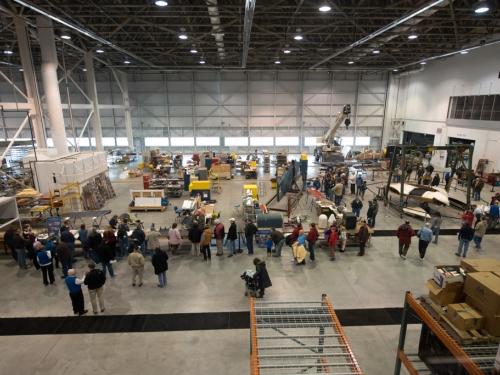 Crowds in hangar