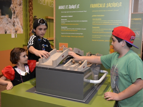 Children at interactive station
