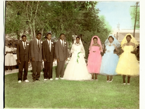 Hand tinted photo of wedding party