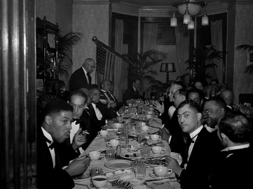 African American Men at formal dinner
