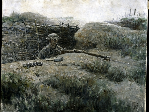 Painting of sentry in foxhole