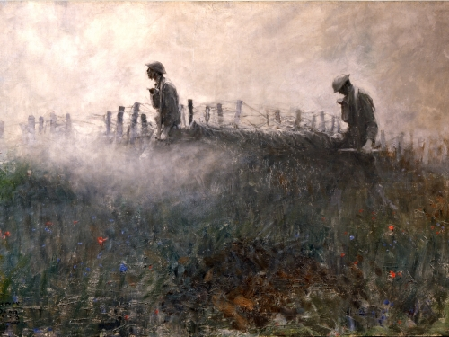 painting of soldiers crossing a field