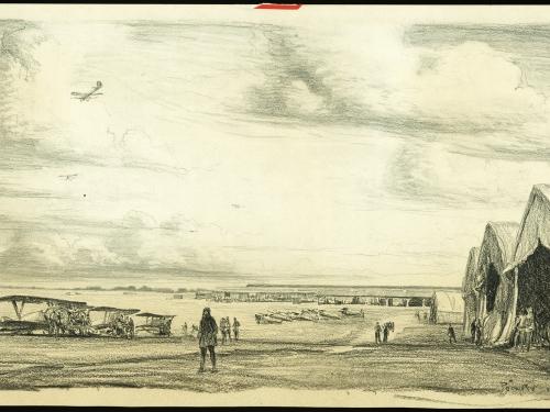 Sketch of hangar and open field