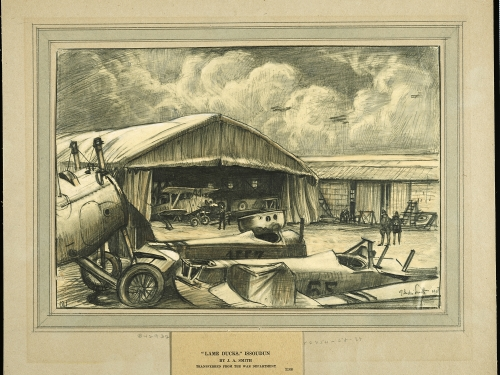 drawing of planes in hangar