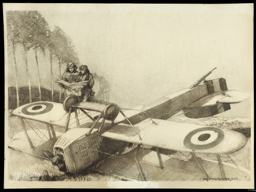 drawing of WWI plane