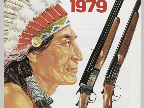 Gun advertisement featuring drawing of Indian in eagle headdress