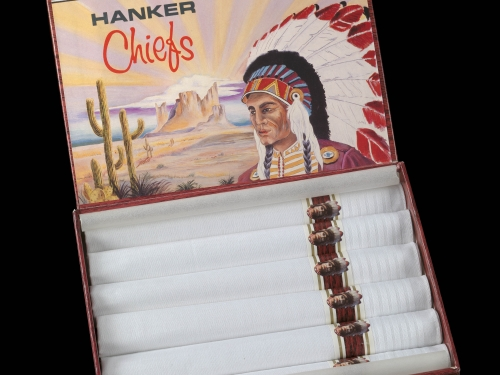 Box of handkerchiefs featuring Indian logo