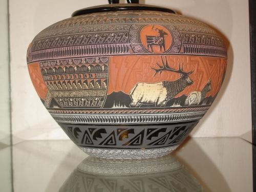 Vase with Native American design