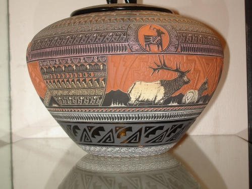 Vase with Native American design