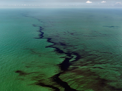 """Oil Spill #10, Oil Slick at Rip Tide, Gulf of Mexico, June 24, 2010"""
