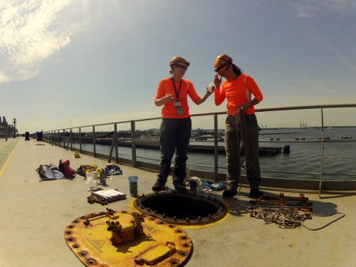 Biologists take samples of ballast water