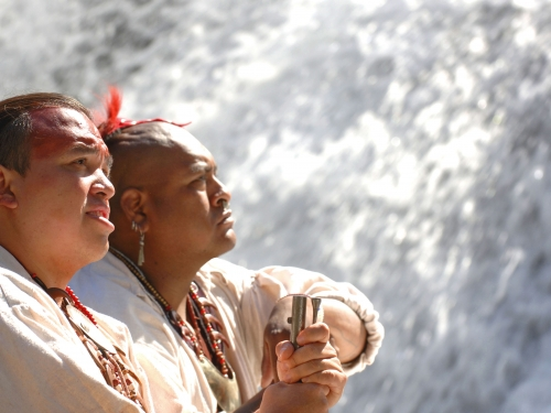 Eastern Band Cherokee Indians in traditional clothing