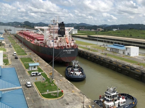Ship moving through Panama Canal lock