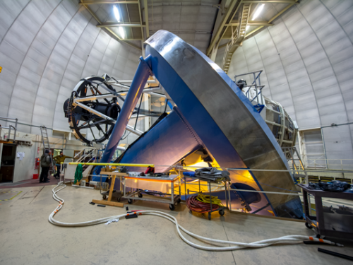 Large astronomy technology being installed at a telescope