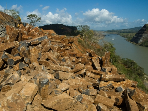 Rock piles overlooking Panama Canal
