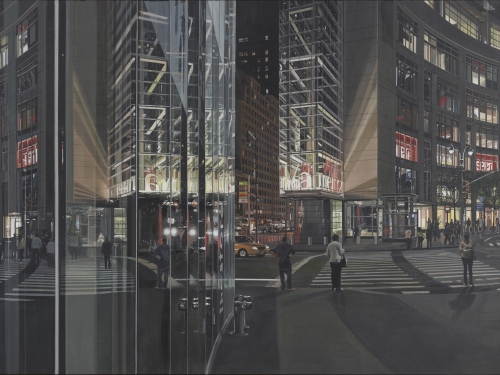 "Richard Estes ""Columbus Circle at Night"""