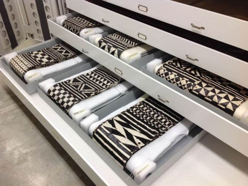 drawers containing textiles with geometric design