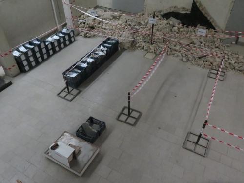 Aerial view of debri storage area