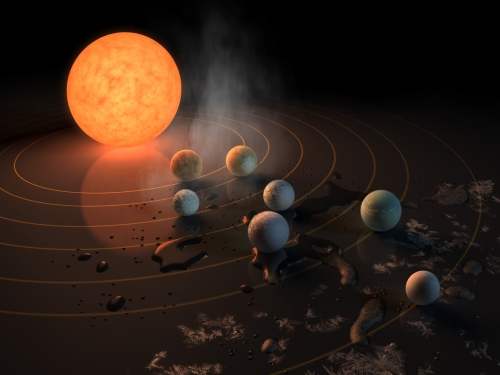 Artists rendering of sun and planets