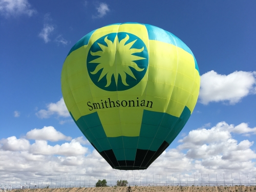 Inflated balloon with Smithsonian colors and logo